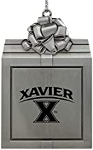 Xavier University-Pewter Christmas Holiday Present Ornament-Silver
