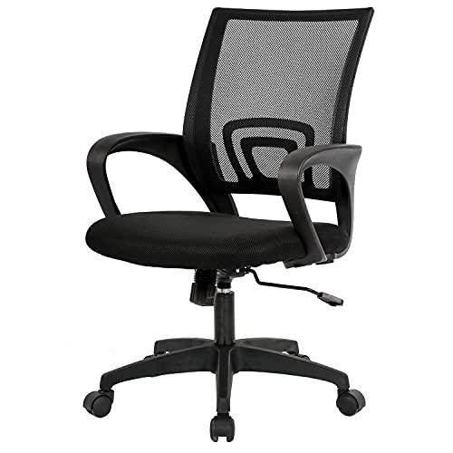BestOffice Ergonomic Desk Mid-Back Mesh Computer Lumbar Support Comfortable Executive Adjustable Rolling Swivel Task Chair with Armrests(Black)
