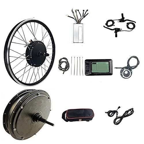 SKYWPOJU 48V 1500W Kit de conversión de motor de bicicleta eléctrica de rueda trasera, 20' 24' 26' 27,5' 28' 29' 700c E-Bike Buje de rueda trasera Kit de motor de bicicleta eléctrica con pantalla KT-L