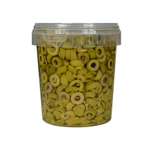 Hymor grüne Oliven geschnitten - 8x 600g Behälter - Oliven aus Marokko in Scheiben Marokkanische Olive eingelegt in Lake vegan, glutenfrei, zu Tapas, Salaten, beim Kochen