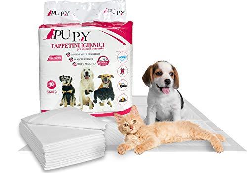 PUPY 120 Tappetini Igienici per Cani 60x60 | Traversine di Ultima Generazione con Polimeri Super Assorbenti | 4 Angoli Adesivi | Traverse per Cani Gatti e Animali Domestici (60X60)