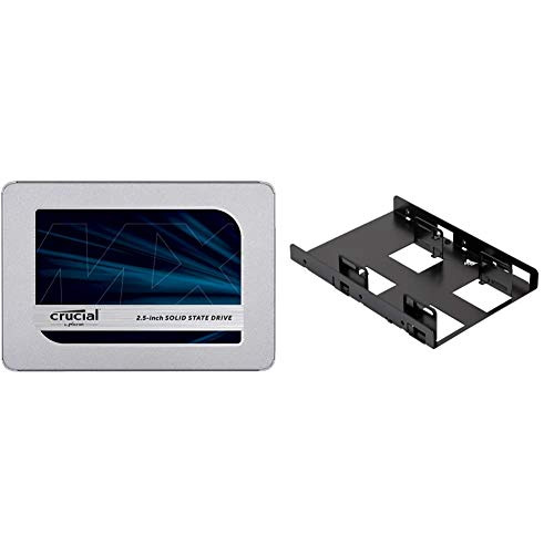 "Crucial MX500 500GB 3D NAND SATA 2.5 Inch Internal SSD, up to 560MB/s - CT500MX500SSD1 & Corsair Dual SSD Mounting Bracket 3.5"" CSSD-BRKT2, Black"