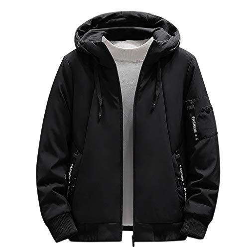 waotier Abrigo para Hombre Casual de Invierno con Capucha de Color sólido Escudo Cazadora De Espesor Cortavientos algodón de Gran Tamaño