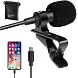 2M/6.5ft Mini Lapel Lavalier with clip on Microphone for iPhone 7/8/X/XS/XR/11/12 and iPad | Lapel Omnidirectional Condenser Mini Lavalier Mic iPhone Microphone for Recording on iOS devices by iZEN