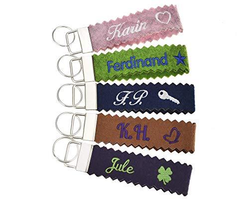 Schlüsselanhänger (mit Zacken) bestickt mit Name und Symbol in 34 Filz-Farben - mit Text, personalisiert, Bestickung Name Wunschtext Schlüsselband