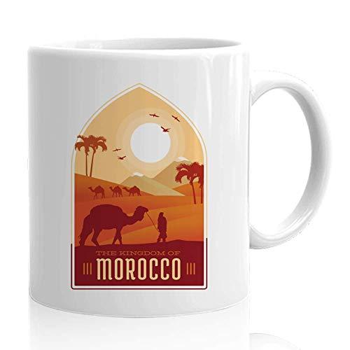 Marruecos Mug Marruecos - El Reino de Marruecos Camel Sahara Desert - Souvenir turístico Regalo de viaje para el viajero amigo África Árabe