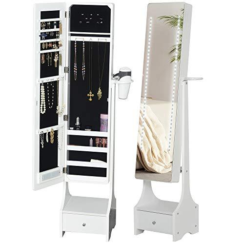 Armoire à Bijoux avec Miroir sur Pied Multi-rangements Inclinaison réglable éclairage LED Blanc dim. 37L x 30l x H158 cm