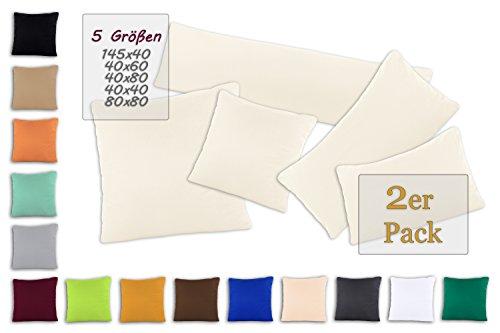 SHC - Kissenbezug 2er-Set für Dekokissen, 100% Baumwolle mit Reißverschluss - 50x50 cm, naturweiß/Creme