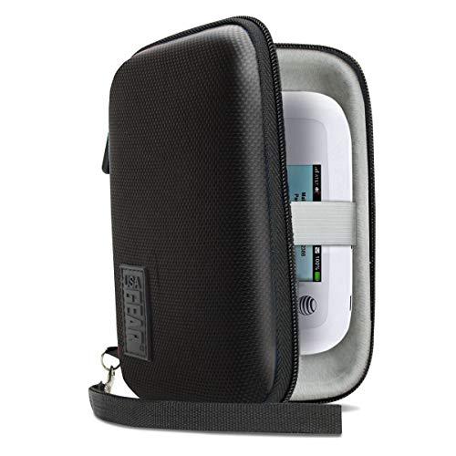 USA Gear Tragbare WiFi-Hotspot Tragetasche mit Handschlaufe - Kompatibel mit Mobilen 4G-LTE-WLAN-Hotspots von Verizon, T-Mobile, Skyroam Solis, GlocalMe, Netgear, Huawei und Mehr - Schwarz