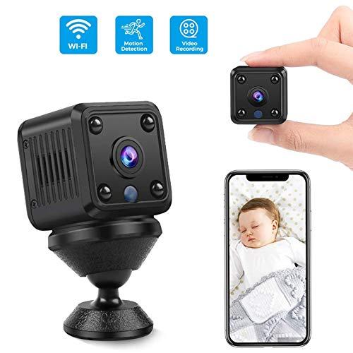Mini Kamera,1080P HD Mini Überwachungskamera Lange Batterielaufzeit Kleine WLAN Sicherheitskamera für Innen WiFi Minikamera mit Bewegungsmelder Speicher Nachtsichtkamera Und 32G SD-Karte,Kartenleser