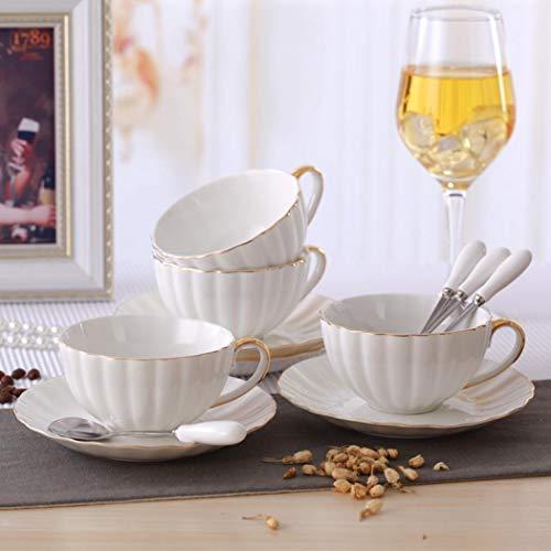 Teetassen-Set aus Porzellan, Kaffeetassen und Untertassen, Weiß, 4 Stück (200 ml) mit Goldrand, Cappuccino-Tassen, Kaffeetassen, britische Kaffeetassen