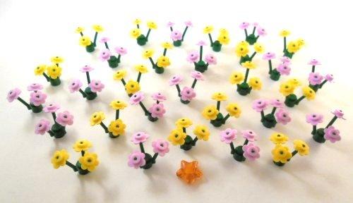 LEGO CITY Blumenwiese 15x mit rosa Blüten und 15x mit gelben Blüten. Incl. orangem LEGO-Stern.