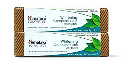 Himalaya Whitening Toothpaste - Simply Mint 5.29 oz/150 gm (2 Pack), Natural, Fluoride-Free & SLS-Free