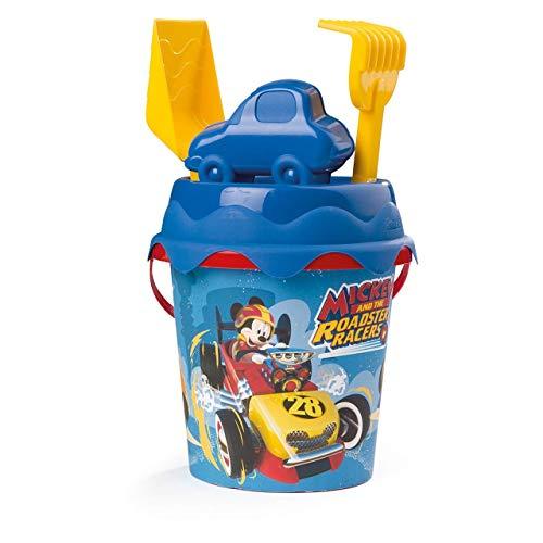 Simba and The Roadster Racers Cubo de Playa Mickey Mouse con Pala, rastrillo, Molde y tamiz, 17 cm, Multicolor (862081)