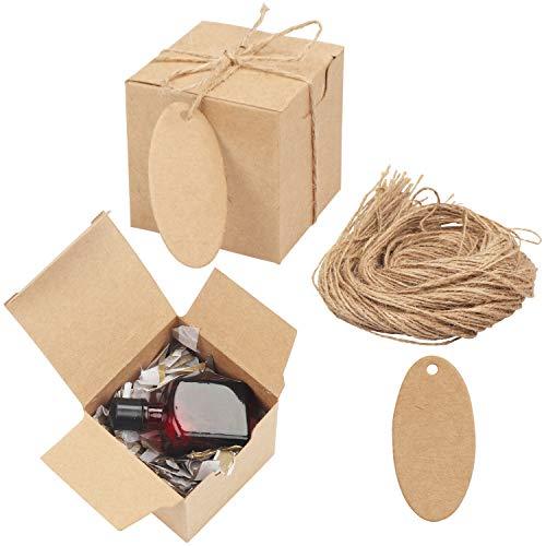 Belle Vous Karton Geschenkboxen (100 Stk) - Schachteln 5x5x5cm Pappschachteln Klein Braun mit Anhänger & Schnur – Kraftpapier Geschenk Box zum Aufbauen für Geschenke, Hochzeit, Party, Gebäck, Schmuck