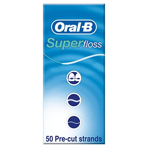 Oral-B Seda Dental Super Floss Ortodoncias y Puentes, 50 hebras precortadas