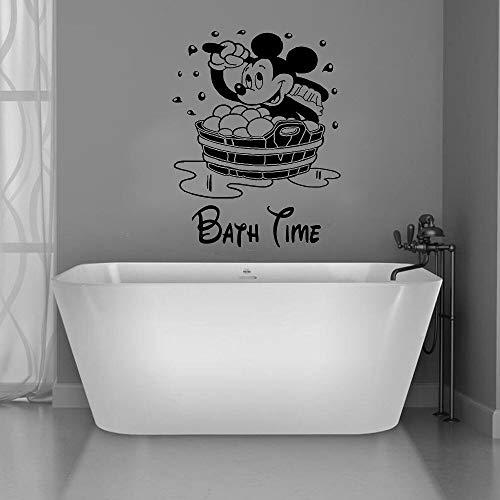 Anime dibujos animados ratón baño tiempo pegatinas de pared decoración del hogar habitación de los niños vinilo pared calcomanía baño decoración mural