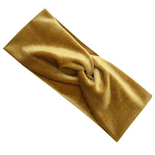 SONSYON Damen Stirnband - Stirnbänder für Frauen Yoga Fitness Sport Kopfband Elastisch Haarband Kopf-Verpackungs Samt, Gold, Einheitsgröße