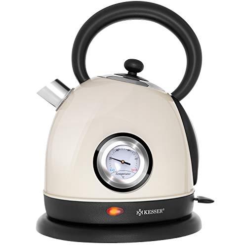 KESSER® Wasserkocher Edelstahl | 2200W | BPA frei | 1,8 Liter | Retro Design | Überhitzungsschutz | Teekocher Teekessel Kocher | Cool-Touch-Griff | kabellos | Temperaturanzeige | Beige