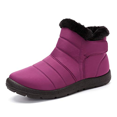 Pumoes Womens Warm Snow Boots Winter Waterproof Fur Lined Ankle Outdoor Boots Anti-Slip Booties Comfortable Lightweight Walking Shoes Slip on Zipped Sneakers Purple 7.5 M US