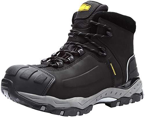 LARNMERN Zapato de Seguridad S3 SRC, con Tapa de Acero con Suela Antideslizante Caucho, Antiestático L8057 (41 EU Negro)