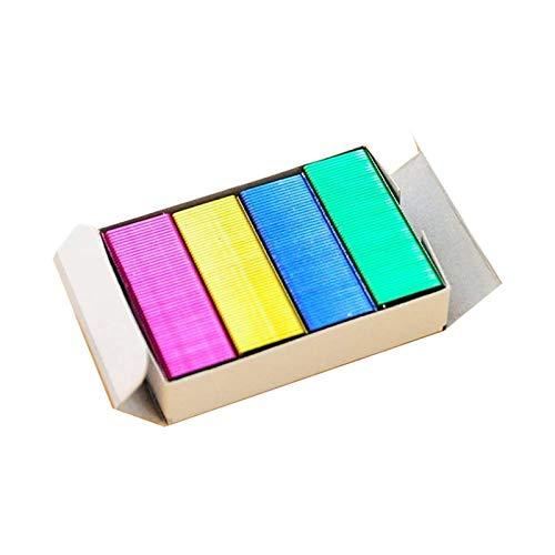 Mini grapas de color DIY grapas premium estándar libro oficina rosa amarillo azul verde 800 piezas
