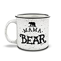 Shop4Ever Mama Bear Novelty Campfire Speckled Ceramic Coffee Mug Tea Cup Gift ~ Mother's Day ~
