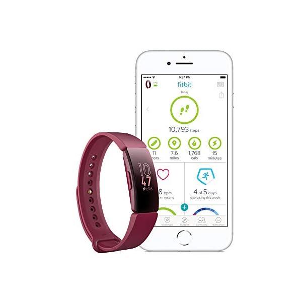 Fitbit Inspire HR, Pulsera de salud y actividad física con ritmo cardiaco, Blanco/Negro 3