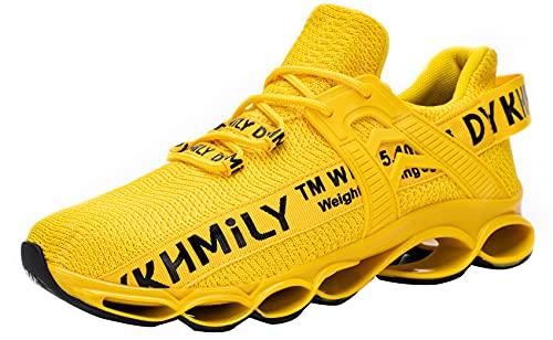 DYKHMATE Zapatillas de Seguridad Hombres Mujer Punta de Acero Calzado de Trabajo TPU Ligero Transpirable Zapatos de Seguridad Anti Choque (Amarillo,44 EU)