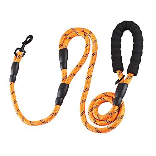 Correa para Perro Correr 1.8M Correa de Cuerda con Mango Acolchado Doblepara Perros de Todos los Tamaños (Naranja)