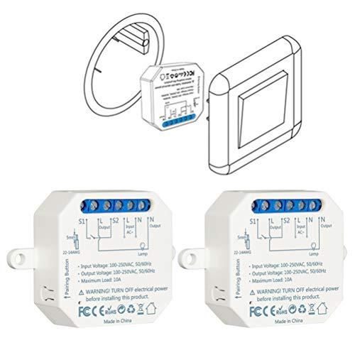 LoraTap – Juego de 2 interruptores wifi Alexa inalámbricos, Va y Viento Paralelo, Receptor 2500 W 10 A, interruptor inteligente y control remoto por teléfono, relé compatible con Google Home