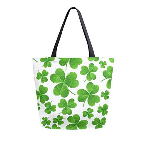 Lerous Große Canvas-Tragetasche, Glücksklee, wiederverwendbare Leinentaschen, Schultertasche, Büchertaschen, Einkaufstaschen, tragbare Aufbewahrung, Handtaschen für Damen/Mädchen