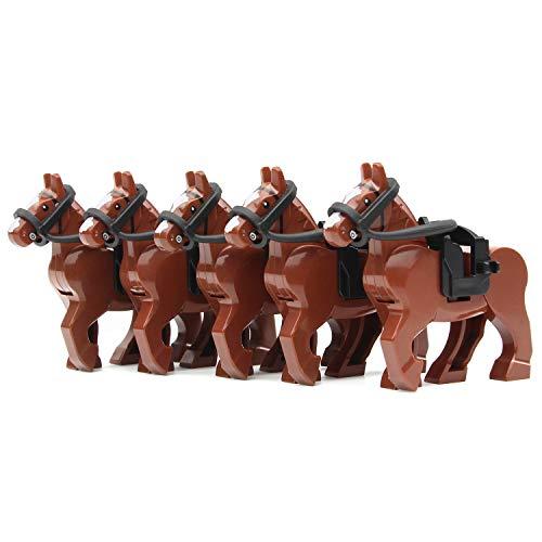 Feleph Juego de bloques de construcción de figuras de caballo de guerra marrón 5 piezas animales jinete medieval granja caballero regalo con sillines compatibles principales marcas