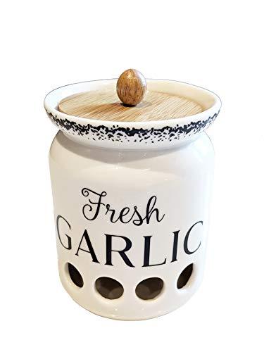 MillGar Ceramic Garlic Keeper for Counter - 4.5? x 3.5? Farmhouse & Vented Garlic Storage Container To Keep Garlic Cloves Fresher, Longer - Garlic Holder w/Bamboo Wood Lid - Dishwasher Safe