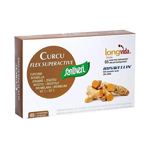 Curcu Flex Superactive de Santiveri (48 comprimidos): Complemento alimenticico de cúrcuma optimizada (Longvida®), extracto de jengibre, extracto de boswellia, inositol, bromelanía y vitaminas C y E