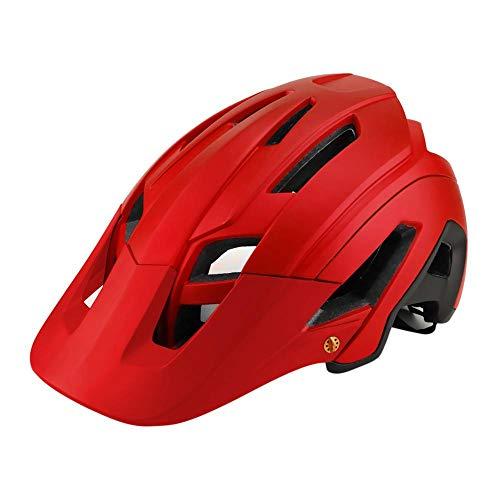 SFBBBO Casco Bicicleta Casco Casco de Ciclismo de Seguridad Todoterreno con Visera para Hombres y MujeresBicicleta Todoterreno de Pista Talla única (56-62CM) Rojo-Negro