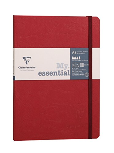 Clairefontaine A5 Age Bag Essentials Thread, Bound Notebook, 5/5 Square Ruling, 192 Pages, Red