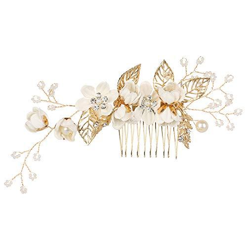 Luxus-Haarnadel Blauer Blume Haarkämme Kopfschmuck Prom Braut Hochzeit Haarschmuck Goldblätter Haarschmuck (weiß)