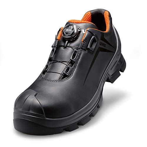 Uvex 2 GTX Vibram Unisex Halbschuh mit Boa® Fit System 6531.1 S3 HI HRO Weite 10 - Schwarz/Orange - Gr. 45