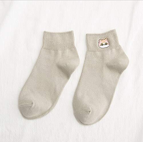 Heliansheng Calcetines Casuales para Mujer, Calcetines con Bordados, Calcetines de Tubo de Color Caramelo, Calcetines Deportivos Divertidos a Rayas Felices, 023-talla única
