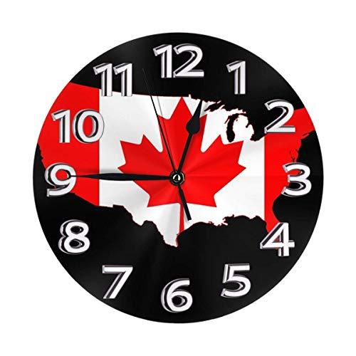 Flag Map of Canada Png Hängende Uhr PVC Home Decor Wanduhr Umweltfreundliche große Uhr Batteriebetriebene elektronische Uhr für Badezimmer Schlafzimmer Wohnzimmer Schulbüro