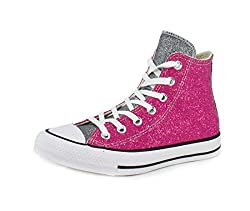 Pink/Silver/White Chuck Taylor Glitter High Top Sneaker