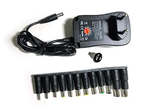 Easyday Fuente de alimentación universal (30 W, 2000 mA, 3 V, 4,5 V, 5 V, 6 V, 7,5 V, 9 V, 12 V, con 12 adaptadores de corriente CC)