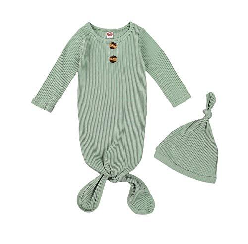 Newborn Infant Baby Girl Boy Knitted Long Sleeve Solid Color Sleeper Sleepwear Nightgown Sleeping Bag with Hat 0-3M (B-Green, 0-3m)