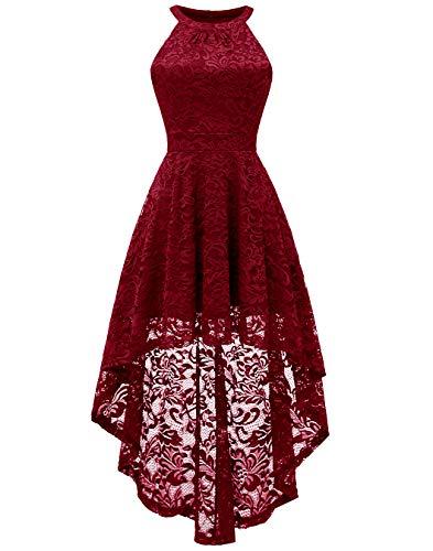 BeryLove Damen Vokuhila Cocktail Kleid Elegant Halter Spitzenkleid Brautjungfern Blumenmuster BLP7028DarkRedM