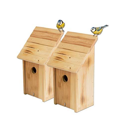 BigDean Nistkästen 2X Schrägdach geflammt Vogelhaus Wildvögelhaus 18 x 12 x 33,5 cm Einflugloch 33 mm Vogelhäuschen Nistkasten Massiv Holz