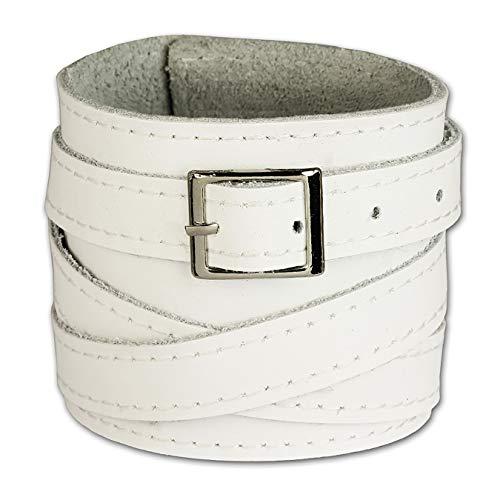 SilberDream Lederarmband weiß Herren Leder Armband Echtleder mit Schnallenverschluß LA1302W