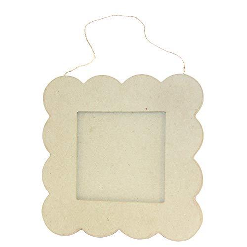 Décopatch CD027C Rahmen (aus Pappmaché zum Verzieren und Personalisieren, quadratisch, 20 x 20cm, ideal für Ihre Bilder 11 x 11 cm) 1 Stück kartonbraun