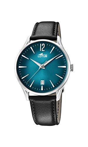 Lotus Watches Herren Datum klassisch Quarz Uhr mit Leder Armband 18402/5
