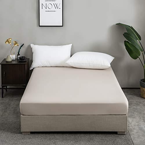 AYSW 100% Baumwolle Beige Premium Spannbetttuch/Spannbettlaken 140x200-160x200 cm, für Kinder und Erwachsene